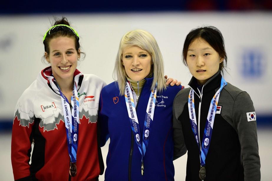 Marianne St-Gelais, Elise Christie etChoi Min Jeong... (PHOTO Johannes EISELE, AFP)