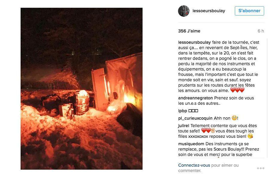 Les soeurs Boulay ont eu un accident de... (Image tirée du compte Instagram des Soeurs Boulay)