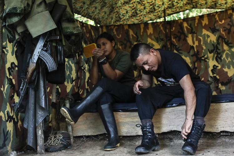 LesFARC, issues en 1964 d'une insurrection paysanne, comptent... (PHOTO AFP)