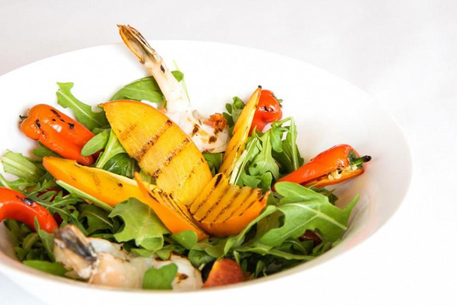 Salade de crevettes et kakis grillés, du restaurant... (Photo fournie par le restaurant Pinxto)