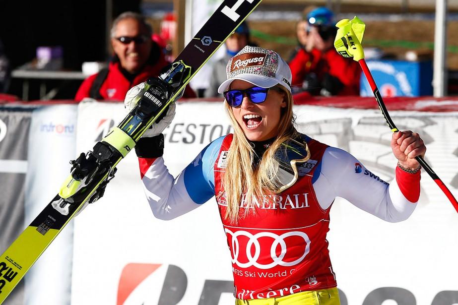 Lara Gut a remporté la21evictoire de sa carrière.... (Photo Giovanni Auletta, AP)