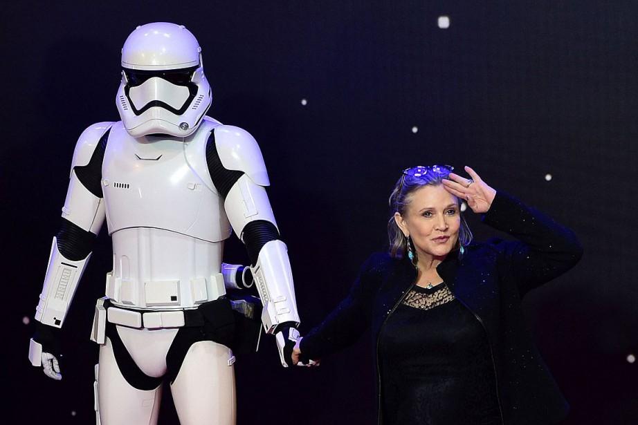 Carrie Fisher à la première européenne deStar Wars:... (PHOTO LEON NEAL, ARCHIVES AFP)