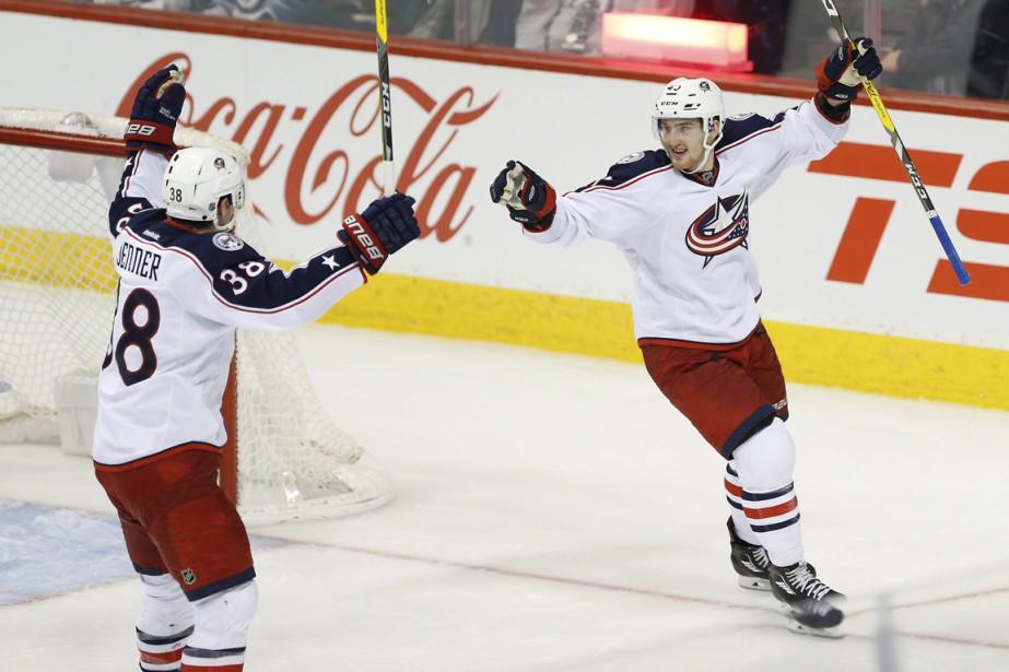Cam Atkinson a marqué deux buts, dont le... (Photo La Presse Canadienne)