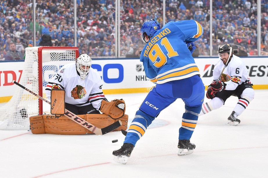 Vladimir Tarasenko semblait très à l'aise au Busch... (Photo USA Today Sports)