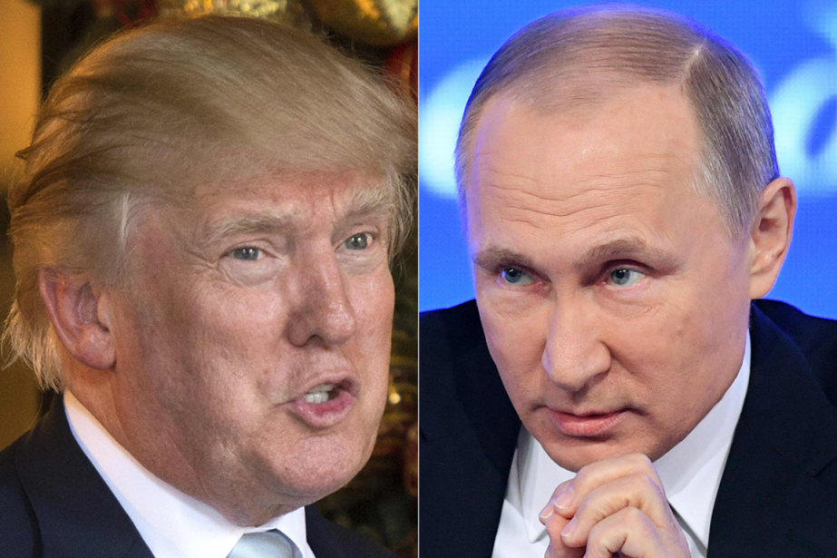 Donald Trump et Vladimir Poutine... (Photos Don Emmert et Natalia Kolesnikova, archives AFP)