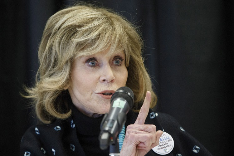 Jane Fonda s'exprime durant une conférenece de presse... (PHOTO PC)