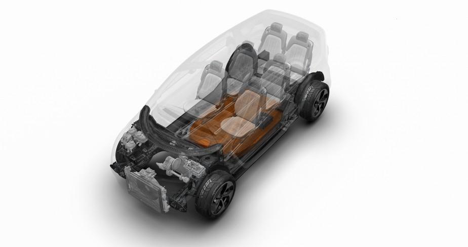 L'autonomie de ce véhicule électrique serait de 400 km, grâce à une simple batterie au lithium d'environ 100 kWh alimentant un moteur de puissance indéterminée logé à l'avant. Un chargeur rapide assurerait de récupérer la moitié de cette autonomie en seulement 20 minutes. ()