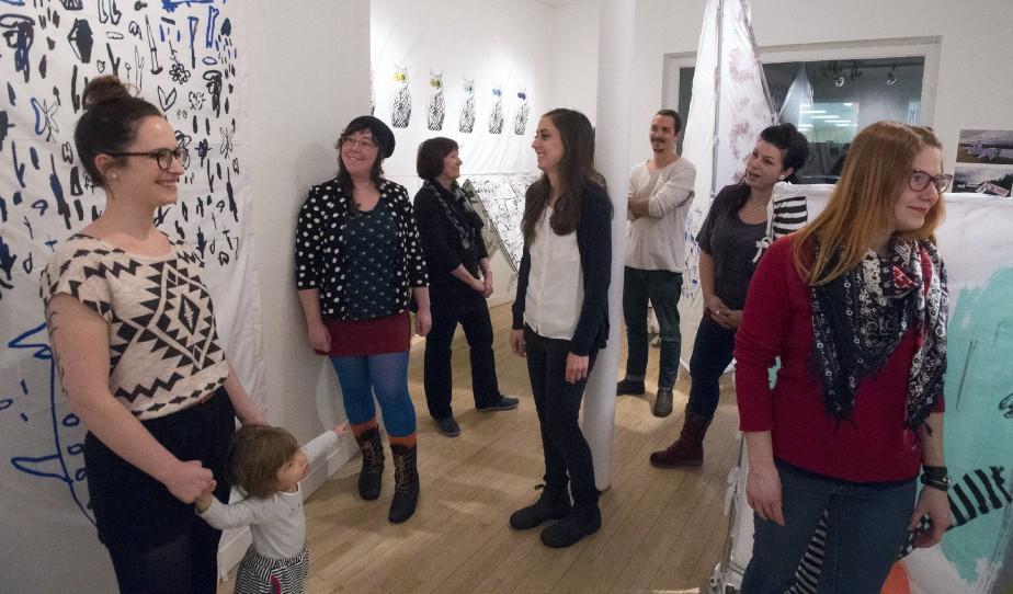 De gauche à droite: Cathy Bélanger, Fontaine Leriche, Aline Beaudoin, Nicole Schlosser, Jeremie Deschamps Buissière, Valérie Guimond et Audrey Charron. (Stéphane Lessard)