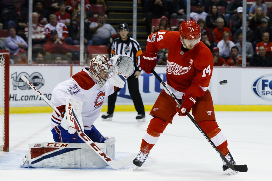 Carey Price stoppe un tir de Gustav Nyquist. (Photo Rick Osentoski, USA Today Sports)