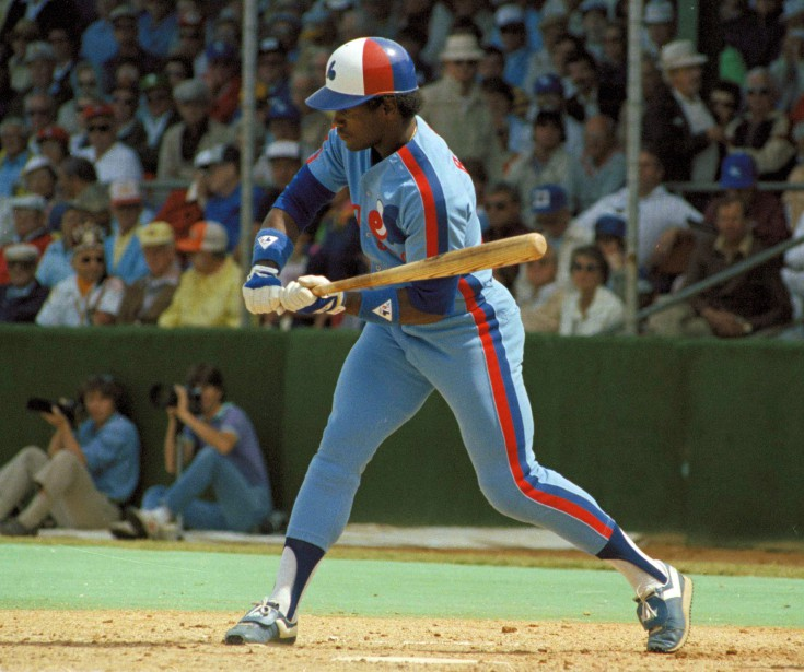 Tim Raines au bâton avec les Expos en 1983. (Photo archives AP)