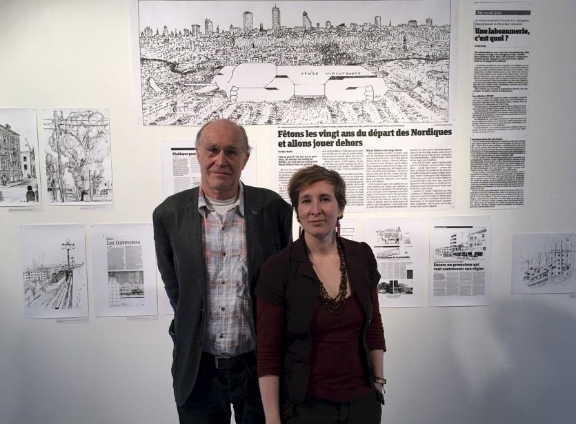 Marc Boutin et la commissaire Hélène Matte. Boutin, qui s'implique dans divers comités de citoyens depuis les années70, prône un militantisme où l'inventivité est reine et où la discussion génère des solutions concrètes. (Patrick Dubé)