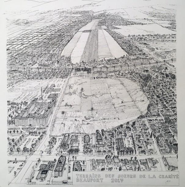 Dessin d'une vue aérienne du terrain des Soeurs de la Charité à Beauport, que certains rêvent de voir transformé en projet d'agriculture écologique et communautaire plutôt qu'en développement résidentiel. (Patrick Dubé)