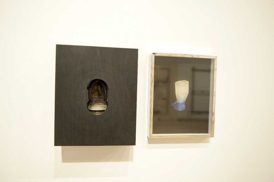 Mariane Tremblay présente notamment Apparitions (Glow in the dark), une oeuvre en deux temps réalisée à partir d'un bénitier et de peinture phosphorescente. (Photo Le Progrès-Dimanche, Jeannot Lévesque)