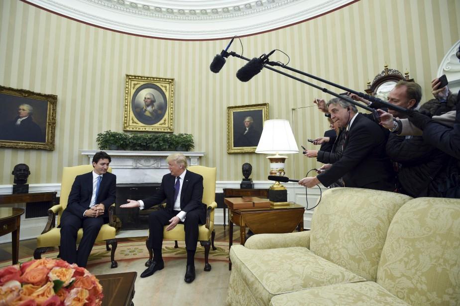 Justin Trudeau et Donald Trump dans le Bureau ovale, à Washington, lundi | 13 février 2017