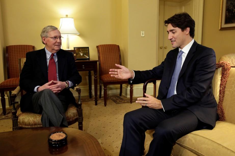 M.Trudeau a aussi discuté avec le leader de la majorité au Sénat Mitch McConnell. (Photo Yuri Gripas, REUTERS)