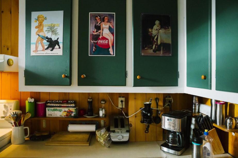 Coup de cœur pour les affiches apposées sur les portes d'armoires, également peintes en vert foncé. Tout ce vert s'harmonise très bien avec le lambris qui couvre le reste des murs de la cuisine et qui sert à la fois de dosseret. | 15 février 2017