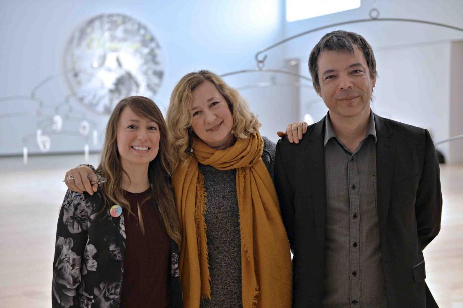 Les commissaires Anne-Sophie Blanchet et Alexia Fabre en compagnie du conservateur Bernard Lamarche | 16 février 2017