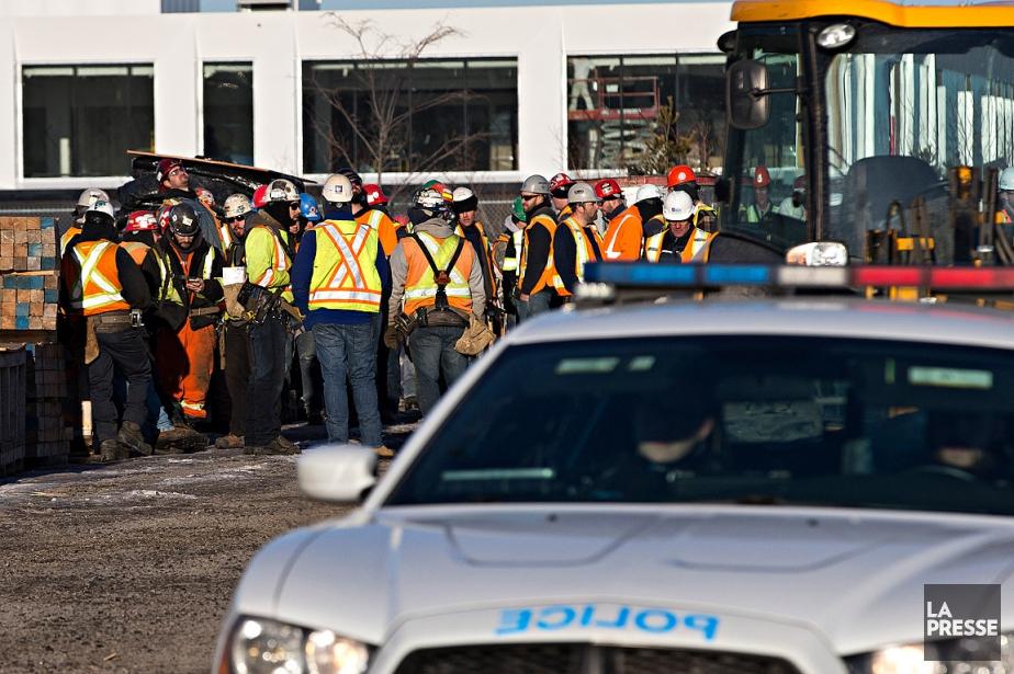 Le chantier où est survenu l'accident de travail... (Patrick Sanfaçon, La Presse)
