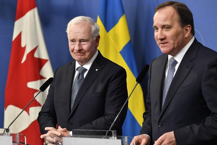 Le gouverneur général du CanadaDavid Johnston et le... (PHOTO AP)