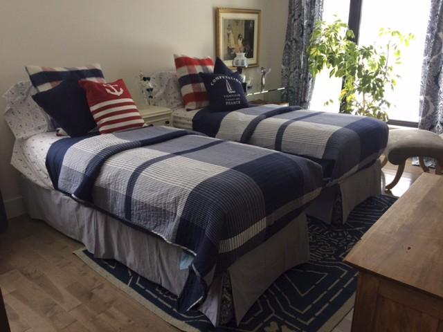 Le lit de la chambre d'amis est composé de deux bases en bois qui peuvent être séparées ou réunies selon le désir des invités. (Fournie par Martin Godbout)