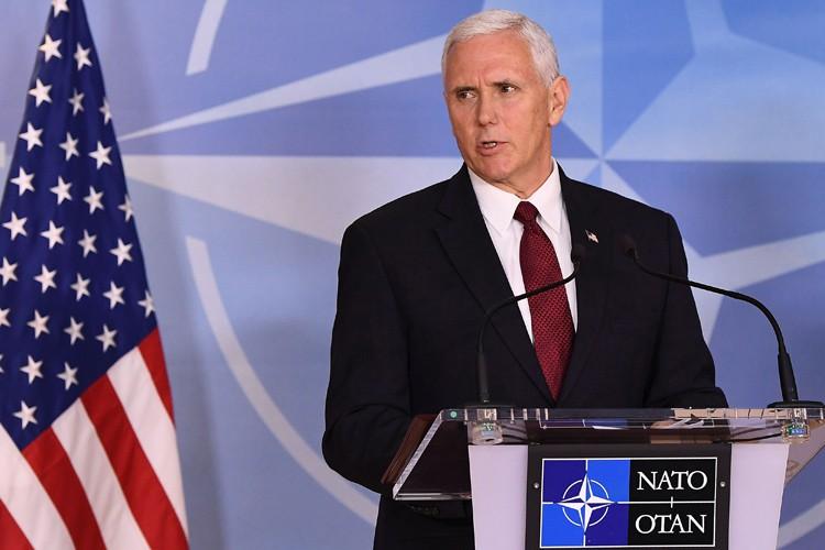 Le vice-président américain Mike Pence lors d'une allocution... (AFP)