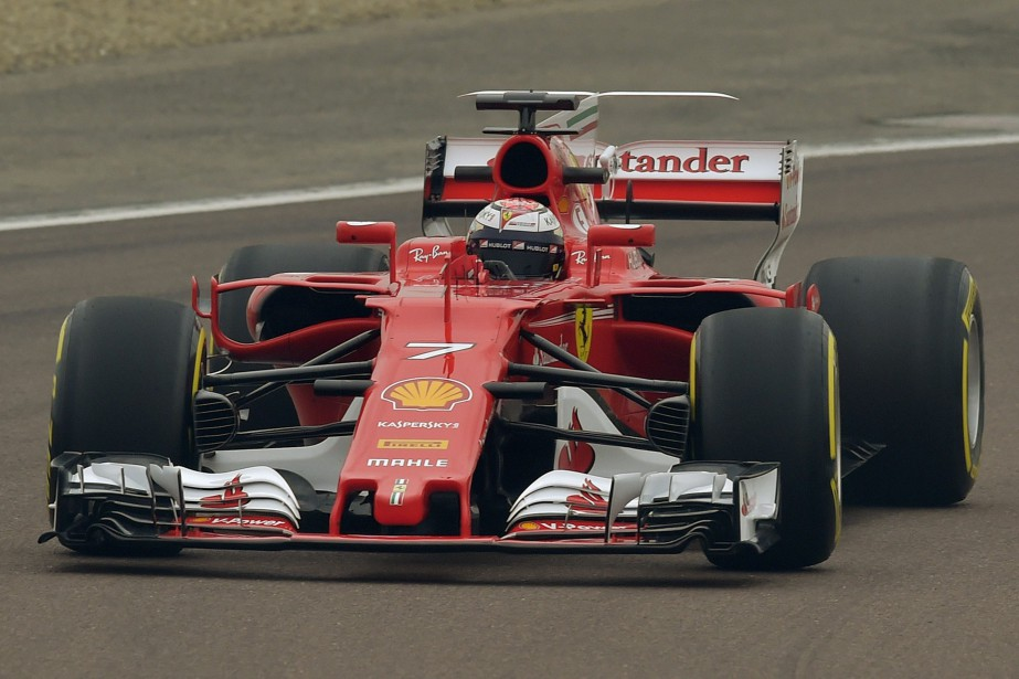 Kimi Raikkonen steers the new Ferrari Formula One...