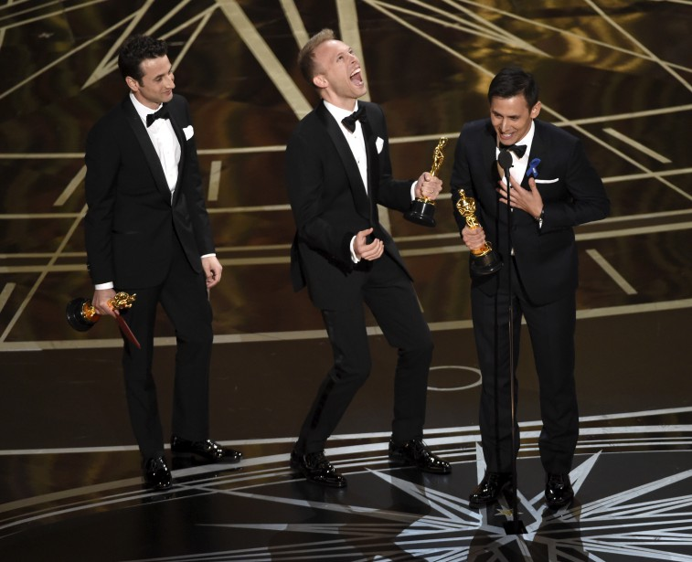 Justin Hurwitz, Justin Paul et Benj Pasek ont remporté l'Oscar de la meilleur chanson originale pour «City of Stars» du film Pour l'amour d'Hollywood. | 26 février 2017