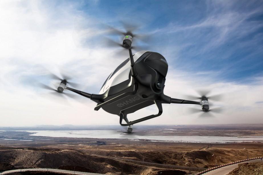 La société chinoise Ehang, spécialisée dans les drones, a mis au point un taxi-drone, l'Ehang 184 AAV, qui devrait être mis en service à Dubaï l'été ptochain. (Toutes les images : Ehang)