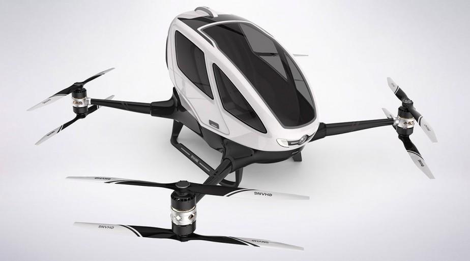 <strong>Taxi-drone :</strong> Une capsule spatiale, un drone, une voiture volante, l'Ehang 184 AAV est un peu tout cela à la fois. Spécialisée dans la conception de drones, l'entreprise chinoise Ehang le présente comme un taxi-drone qui peut voler en théorie jusqu'à 3500 m d'altitude, mais qui se contentera de 300 m pour transporter son unique passager et son unique petit sac à dos ou mallette. ()