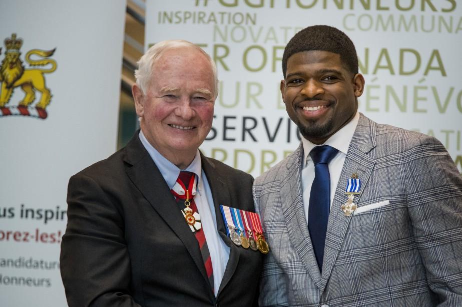 P.K. Subban a reçu la décoration pour service méritoire des mains du gouverneur général du Canada, David Johnston. (Photo Marco Campanozzi, La Presse)