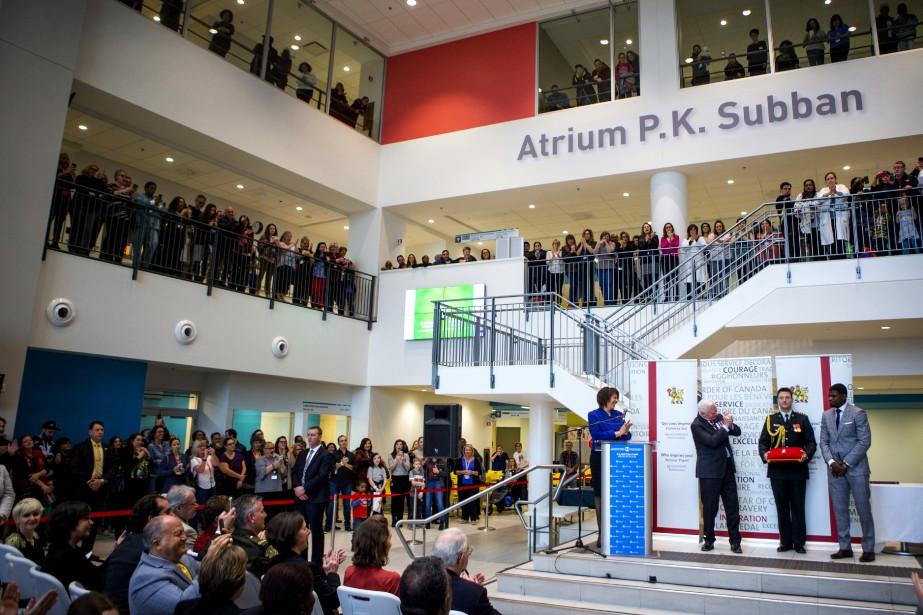 La cérémonie a eu lieu dans l'atrium P.K. Subban de l'Hôpital de Montréal pour enfants. (Photo Marco Campanozzi, La Presse)