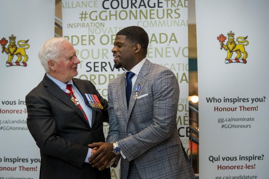 Le gouverneur général du Canada, David Johnston, et P.K. Subban. | 1 mars 2017
