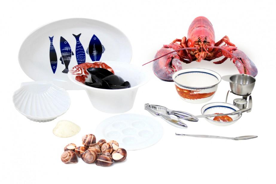 Les grandes aires régionales du Grand Ouest et le Sud-est de la France sont marquées par l'influence de la mer. Sur la photo : assiette ovale pour le service du poisson, plats de dégustation de homard de Golden Rabbit, réchaud à beurre en acier (Trudeau), plats à coquille et à escargots (Trudeau), ensemble à homard, 6 morceaux, 2 pinces 4 fourchettes (Le Cuistot). (Mélissa Bradette)