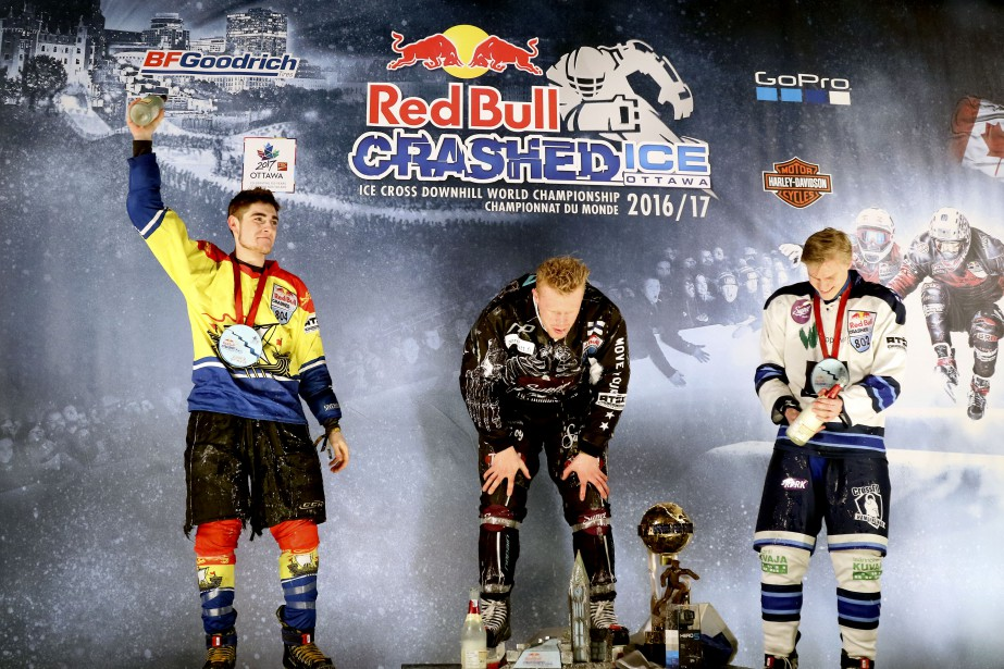 Le podium de la Finale des Juniors: Samuel Nadeau,Mirko Lahti etJoni Saarinen. | 3 mars 2017