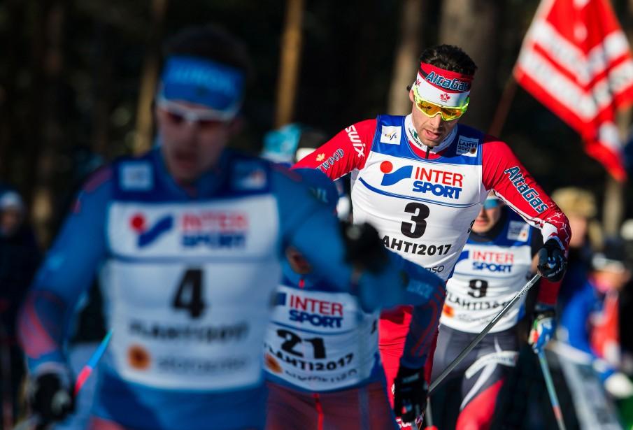 Il s'agit de la première victoire en carrière dans l'épreuve reine du ski de fond pour le fondeur québécois. (PHOTO Jonathan NACKSTRAND, AGENCE FRANCE-PRESSE)