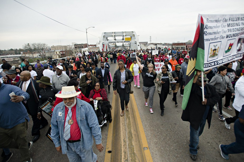 Sur la photo, une commémoration le 5 mars... (Photo Albert Cesare / The Montgomery Advertiser via AP)