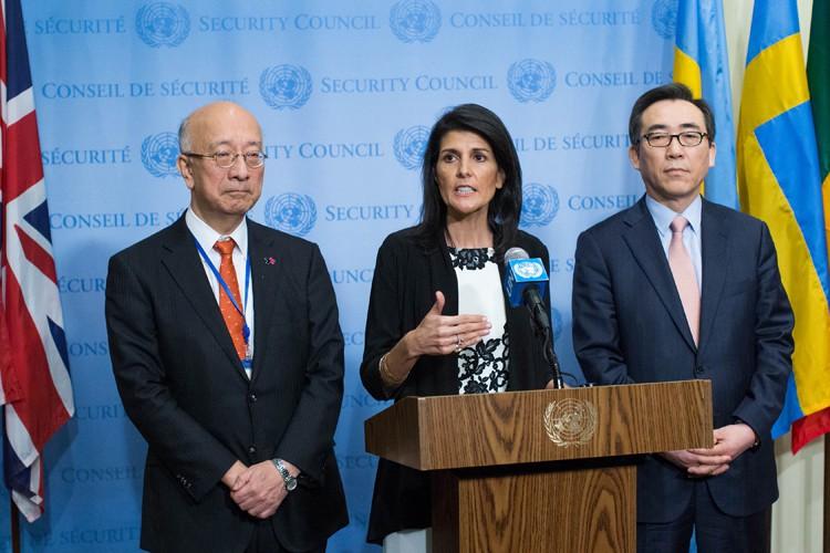 L'ambassadrice américaine à l'ONU Nikki Haley a mené... (PHOTO AFP)