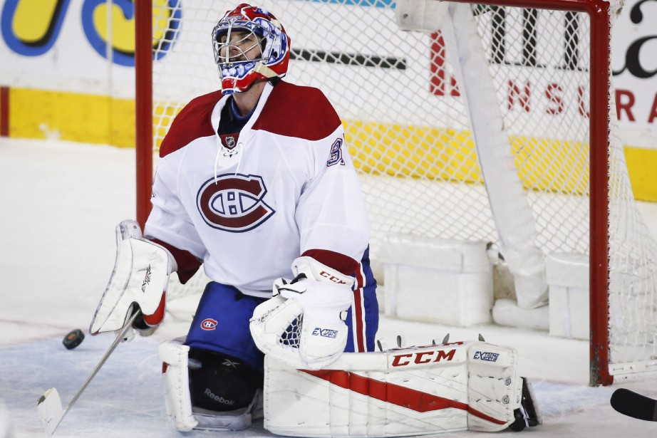 Montreal Canadiens goalie Al Montoya reacts to letting...