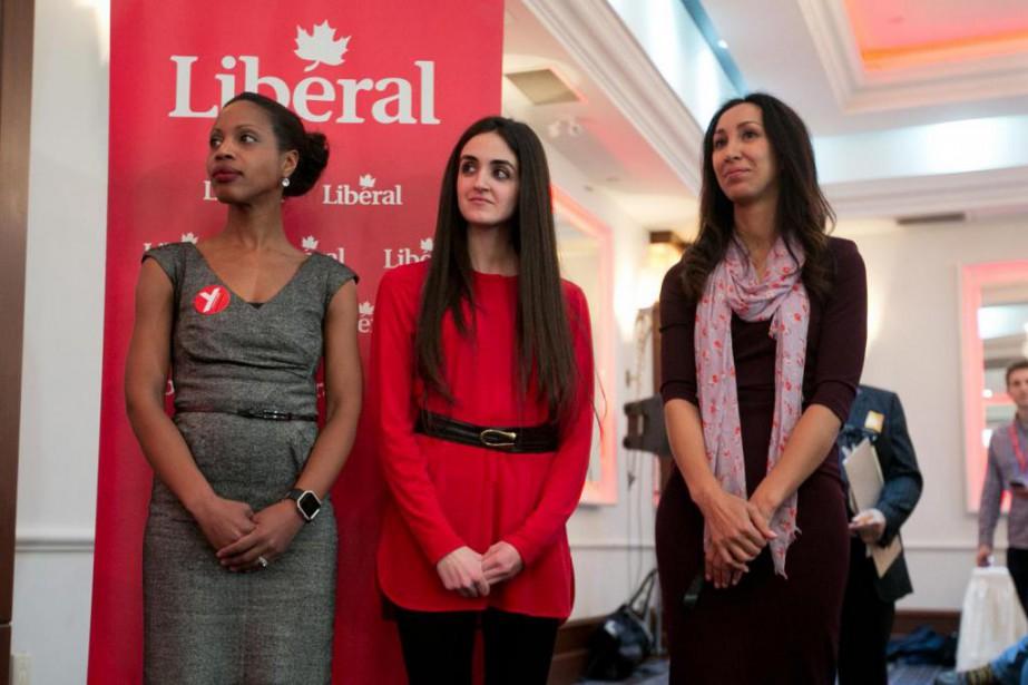 Yolande James, Emmanuella Lambropoulos et Marwah Rizqy se... (PHOTO FRANÇOIS ROY, ARCHIVES LA PRESSE)