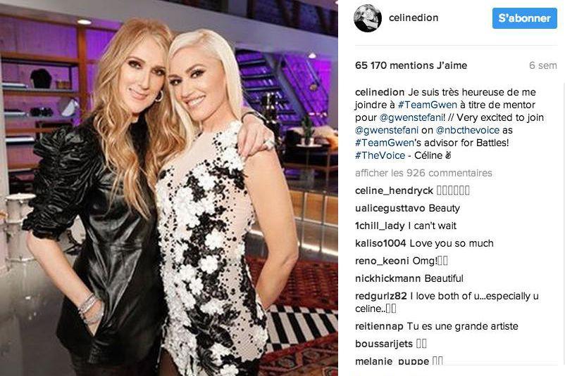 Céline Dion et GwenStefani... (Photo tirée du compte Instagram de Céline Dion)