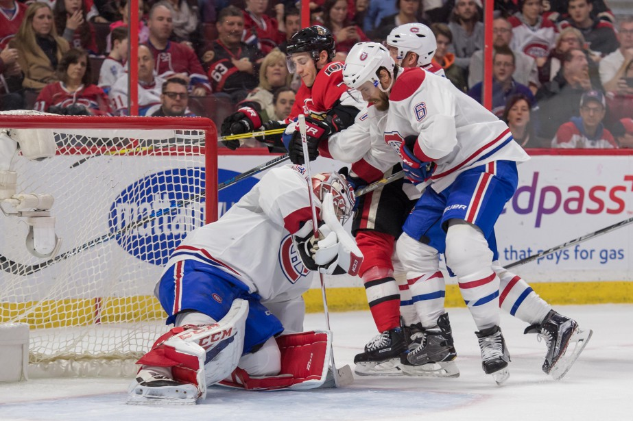 Carey Price arrête le tir de Kyle Turris (7) en deuxième période. (Photo Marc DesRosiers, USA TODAY Sports)