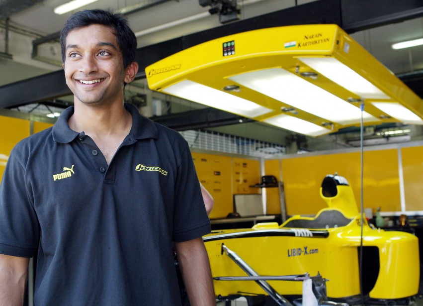 En 2005, l'écurie Hispania avait pris comme pilote l'Indien Narain Karthikeyan, qui n'a pas laissé un souvenir impérissable en F1, mais qui était soutenu par le constructeur automobile Tata. (AP)
