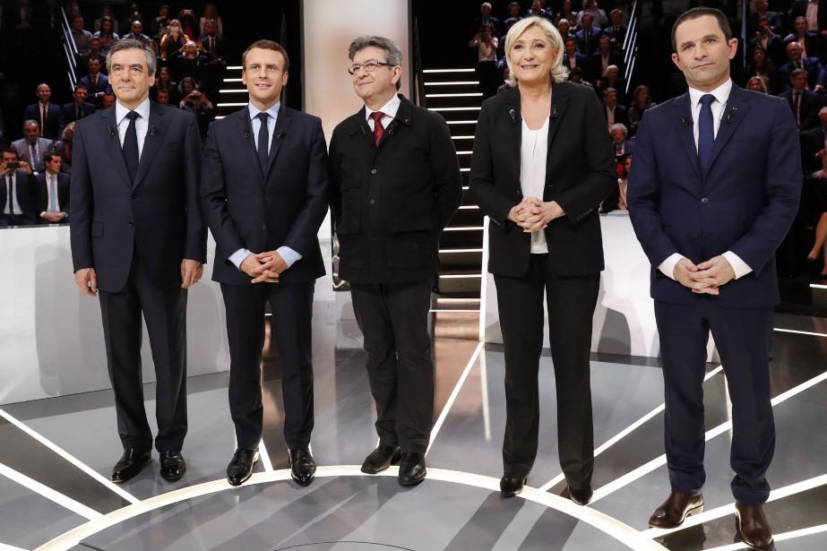 De gauche à droite : Francois Fillon, Emmanuel... (PHOTO AP)