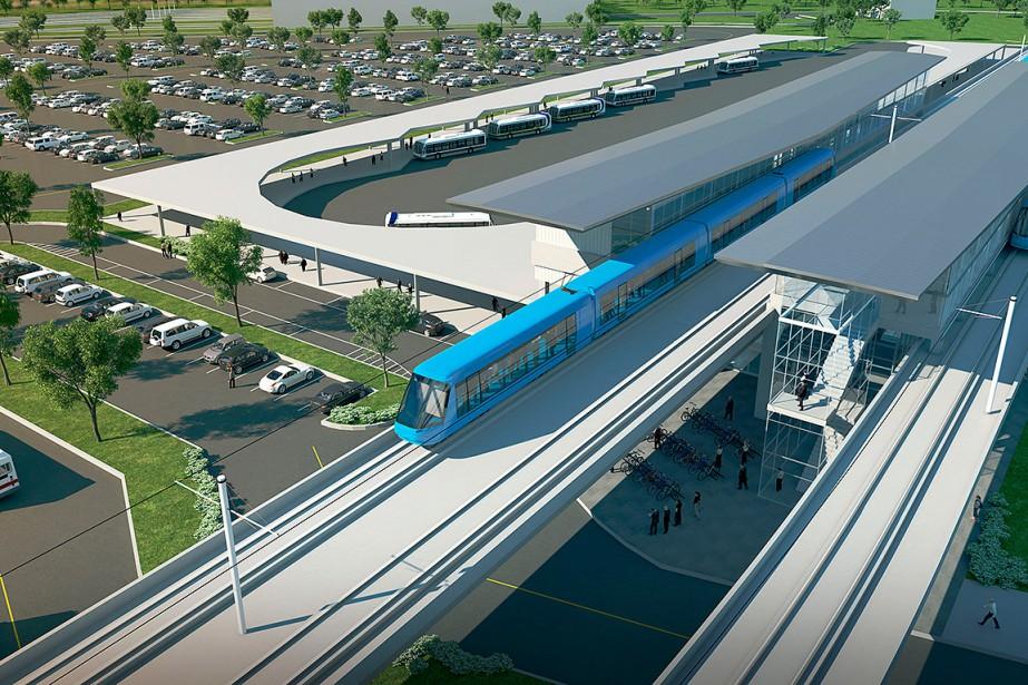 Le terminal Rive-Sud du REM.... (Image fournie par CDPQ Infra inc.)