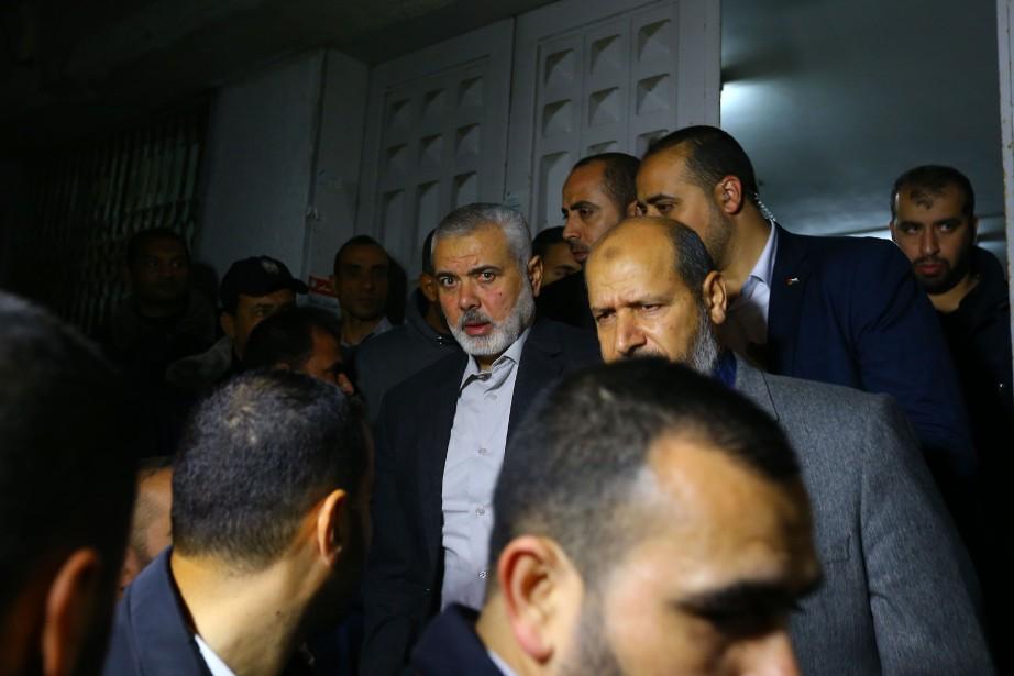En soirée vendredi, l'ancien premier ministre du Hamas,Ismaïl... (Photo MOHAMMED ABED, AFP)
