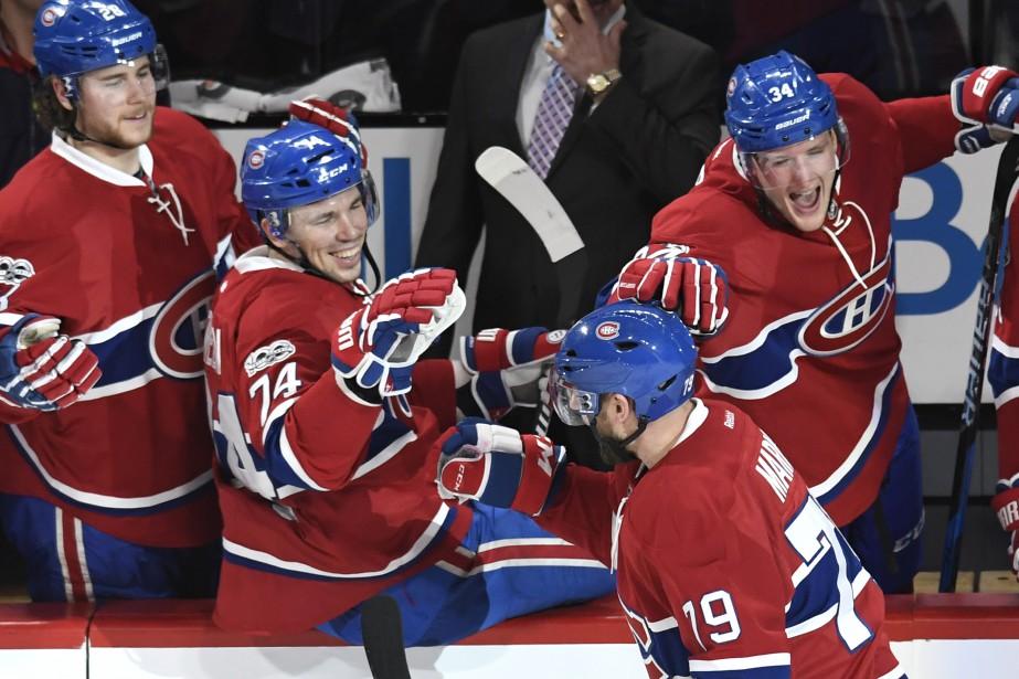 Gros match pour le défenseur du Canadien Andrei Markov, qui a compté deux buts. (Photo Bernard Brault, La Presse)