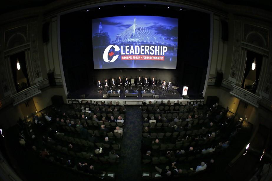 From left Maxime Bernier, Andrew Scheer, Andrew Saxton,... (Photo John Woods, La Presse canadienne)