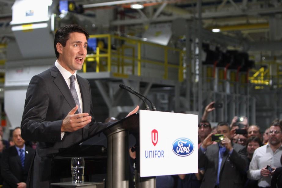 Le premier ministre Justin Trudeau a pris la parole lors de l'annonce en grande pompe d'une subvention de 100 millions de dollars au constructeur américain Ford.Le premier ministre Justin Trudeau a pris la parole lors de l'annonce en grande pompe d'une subvention de 100 millions de dollars au constructeur américain Ford. (THE CANADIAN PRESS)