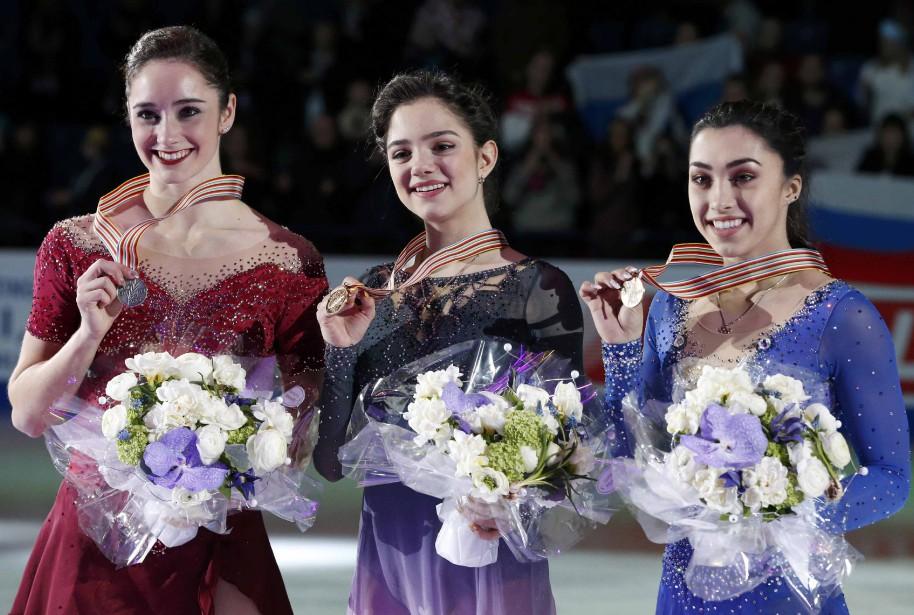Les Canadiennes Kaetlyn Osmond (à gauche), médaillée d'argent,... (Photo Grigory Dukor, Reuters)