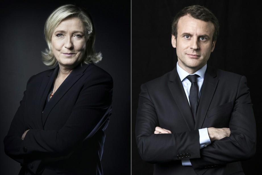 Marine Le Pen etEmmanuel Macron.... (PHOTO AFP)